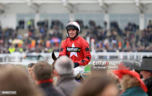 Blaklion ridden by Ryan Hatch after winning the RSA Steeple Chase during Ladies Day at the 2016 Cheltenham Festival at Cheltenham Racecourse