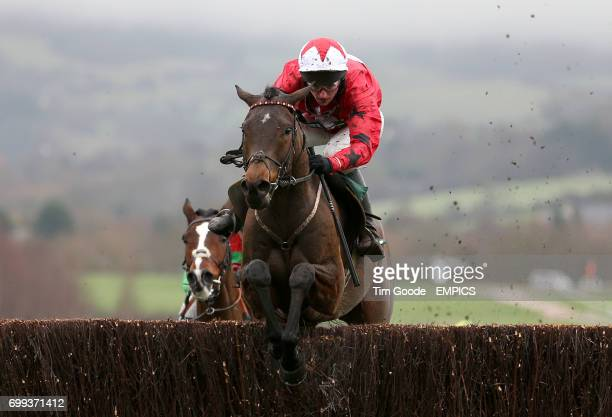Blaklion ridden by Ryan Hatch jumps the last before winning the Harrison James and Hardie Novices' Chase during day one of The International at...