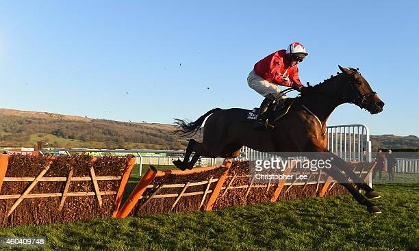Blaklion riden by Jamie Moore clears the final hurdle ahead of all competition to win the Albert Bartlett Novices Hurdle Race at Cheltenham...