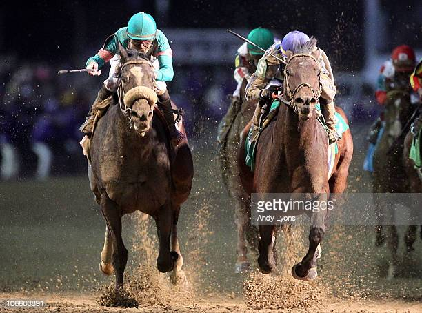 Blame with jockey Garrett Gomez aboard edges out Zenyatta to win the Classic during the Breeders' Cup World Championships at Churchill Downs on...