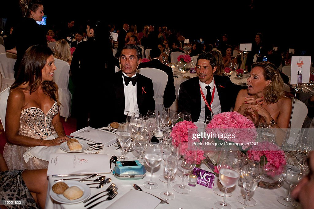 Blanca Ares (L) and Sergio Escariolo (2L) chat during the Global Gift Gala held to raise benefits for Cesare Scariolo Foundation and Eva Longoria Foundation on August 19, 2012 in Marbella, Spain.