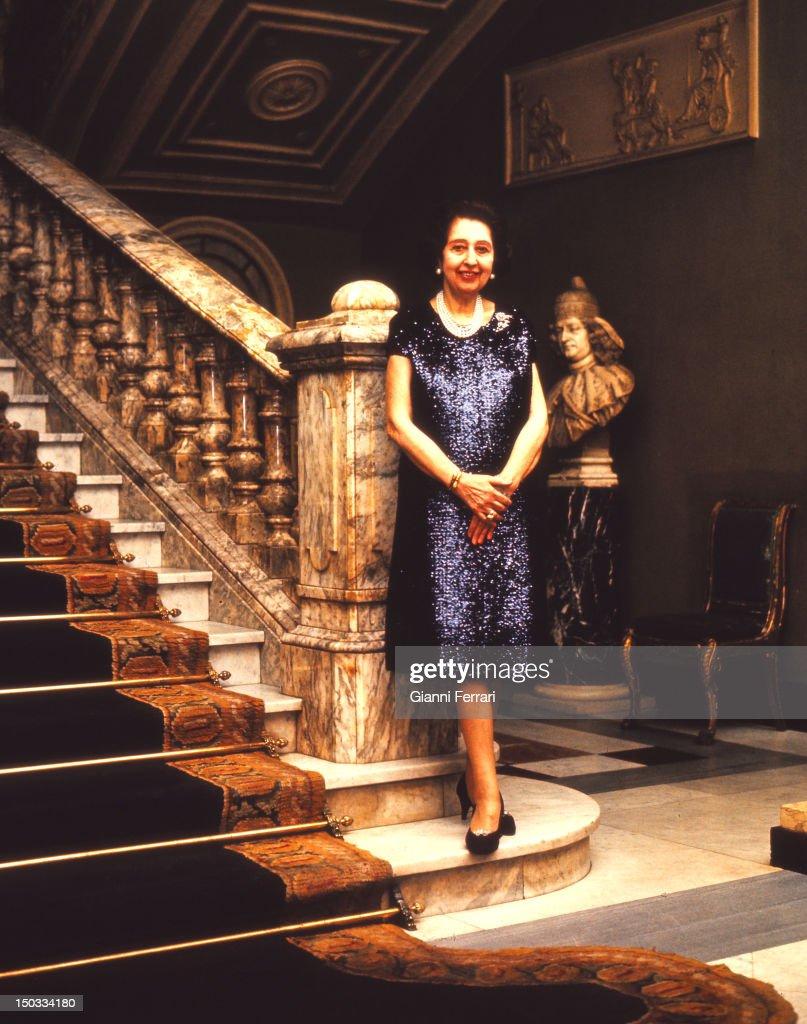 Blanca de Aragon y Carrillo de Albornoz Marquise of Casa Torres mother of former Queen Fabiola of Belgium in her Palace of Madrid Madrid Spain