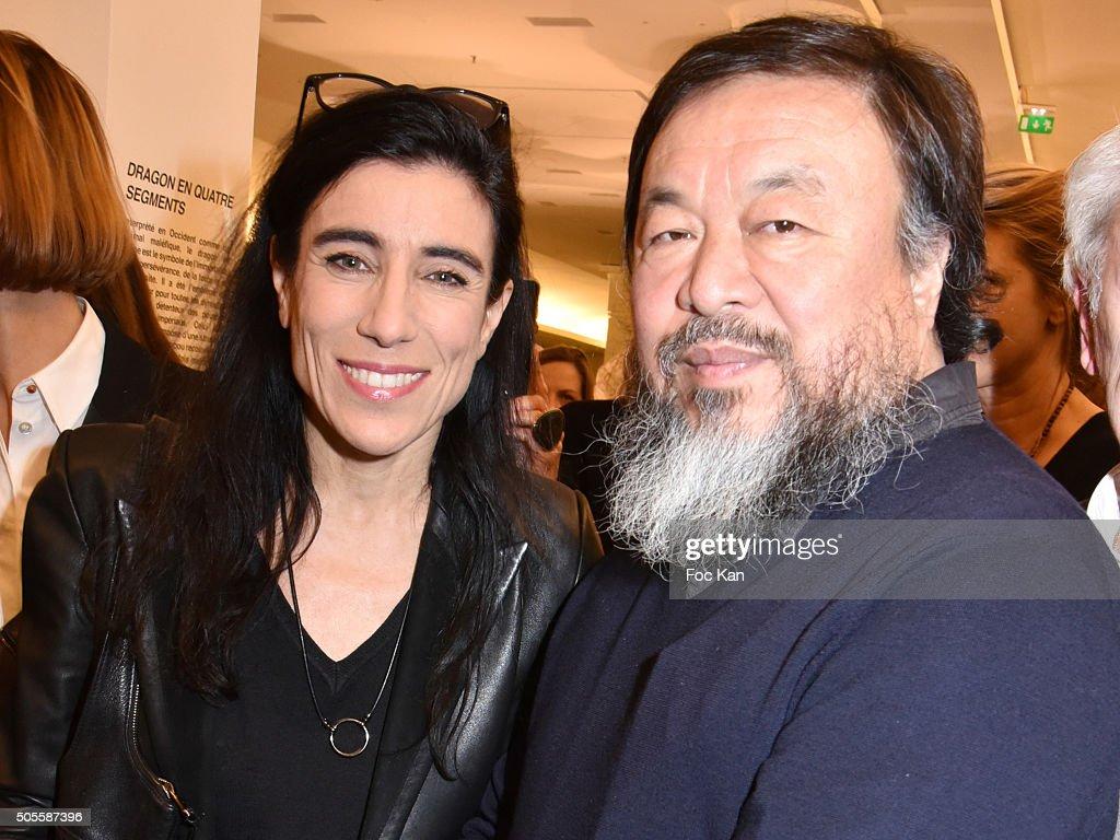 Blanca Li and painter/sculptor Ai Weiwei attend the Ai Weiwei Exhibition Preview Cocktail at Le Bon Marche on January 18, 2016 in Paris, France.