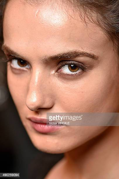 Blanca Padilla backstage during the Etro show as a part of Milan Fashion Week Spring/Summer 2016 on September 25 2015 in Milan Italy