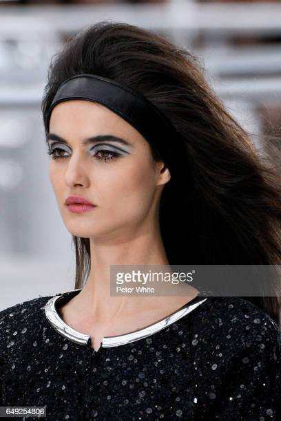 Blanca Padilla beauty detail walks the runway during the Chanel show as part of the Paris Fashion Week Womenswear Fall/Winter 2017/2018 on March 7...
