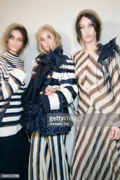 Blanca Padilla Elsa Hosk and Bella Hadid seen backstage ahead of the Alberta Ferretti show during Milan Fashion Week Fall/Winter 2017/18 on February...