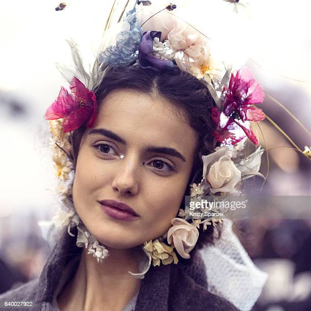 Blanca Padilla poses backstage prior the Christian Dior Spring Summer 2017 show as part of Paris Fashion Week on January 23 2017 in Paris France