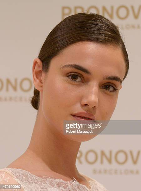 Blanca Padilla poses during a press presentation for the Atelier Pronovias 2016 collection on May 4 2015 in Barcelona Spain