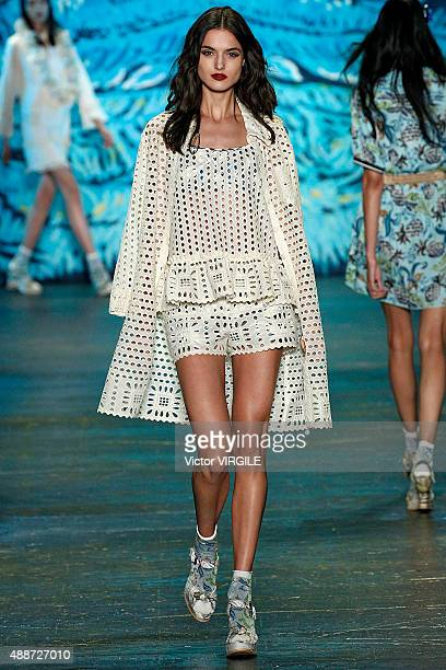 Blanca Padilla walks the runway at the Anna Sui Spring Summer 2016 fashion show during the New York Fashion Week on September 16 2015 in New York City