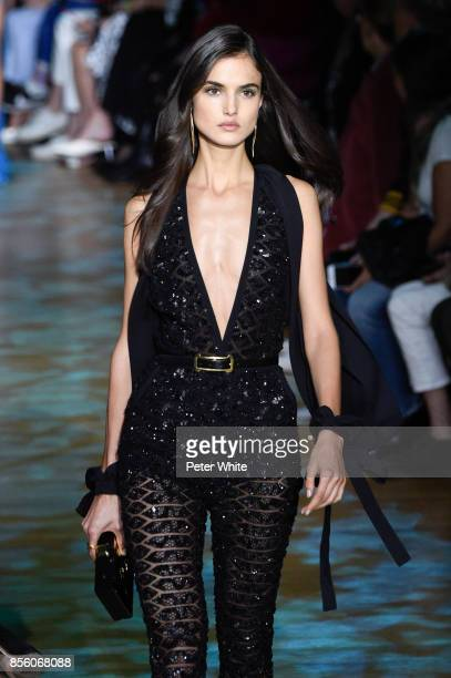 Blanca Padilla walks the runway during the Elie Saab show as part of the Paris Fashion Week Womenswear Spring/Summer 2018 on September 30 2017 in...