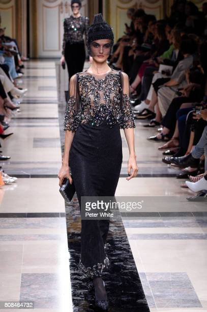 Blanca Padilla walks the runway during the Giorgio Armani Prive Haute Couture Fall/Winter 20172018 show as part of Haute Couture Paris Fashion Week...