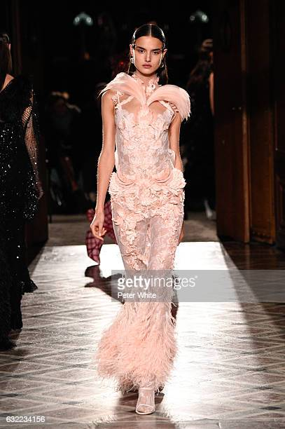 Blanca Padilla walks the runway during the Givenchy Menswear Fall/Winter 20172018 show as part of Paris Fashion Week on January 20 2017 in Paris...