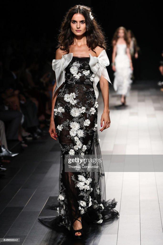 Blanca Padilla walks the runway wearing Marchesa Spring 2018 during New York Fashion Week on September 13, 2017 in New York City.