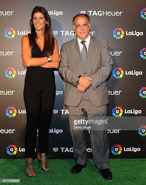 Blanca Panzano Managing Director Spain of TAG Heuer and Javier Tebas President of La Liga during the press conference to announce TAG Heuer as the...