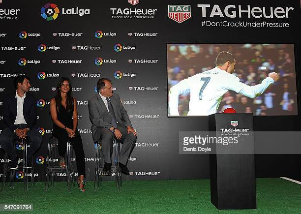 Blanca Panzano Managing Director Spain of TAG Heuer Raul Gonzalez former Real Madrid player and country manager of La Liga in the US and Javier Tebas...