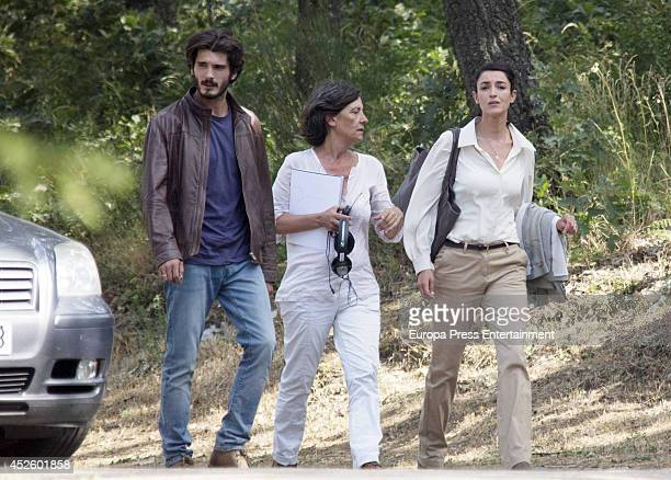 Blanca Romero and Yon Gonzalez are seen during the filming of 'Bajo sospecha' on July 23 2014 in Madrid Spain