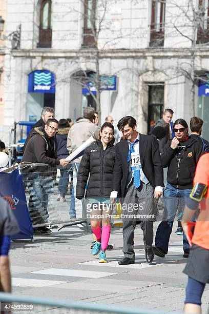 Blanca Suarez and Yon Gonzalez are seen on the set of 'Perdiendo el Norte' on February 21 2014 in Madrid Spain