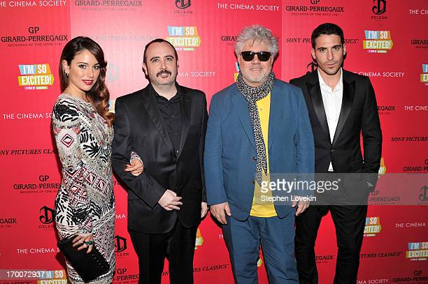 Bianca Suarez Carlos Areces Pedro Almodovar and Miguel Angel Silvestre attend GirardPerregaux And The Cinema Society With DeLeon Host a Screening Of...