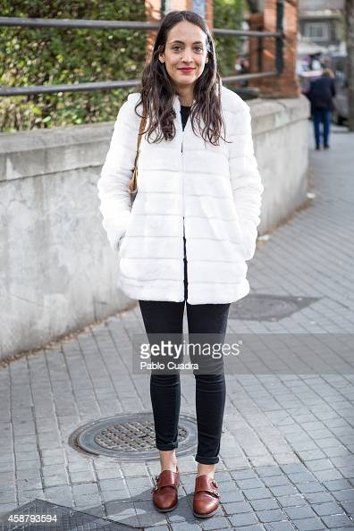 Blanca wears Cremeden shoes Zara trousers and coat and a Louis Vuitton handbag during the 'Mercado de Motores' at Ferrocarril museum on November 10...