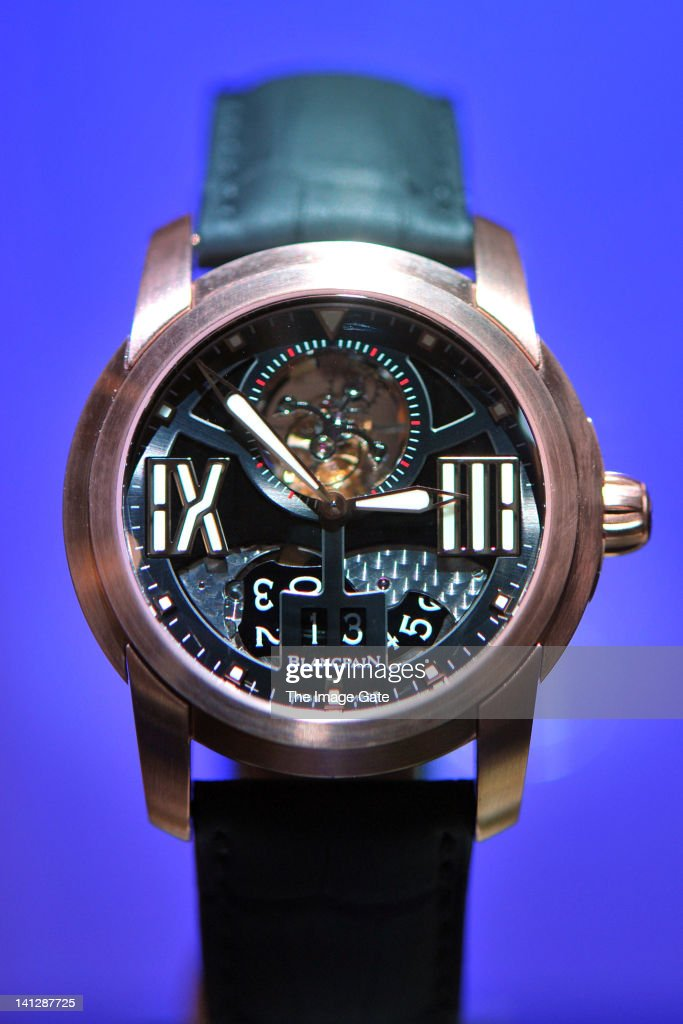 Blancpain watch is displayed at BASELWORLD 2012 The World Watch And Jewellery Show on March 13 2012 in Basel Switzerland