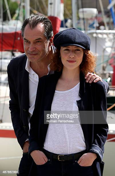 Blandine Bellavoir and Samuel Labarthe attends the photocall of 'Petits Meurtres d'Agatha Christie' as part of the 17th Festival of TV Fiction of La...