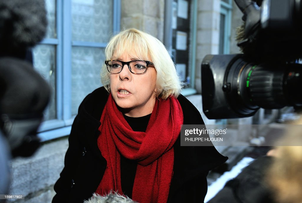 Blandine Lejeune, the lawyer of Anne-Sophie Faucheur (unseen), speaks to journalists outside the Douai courthouse, northern France, on January 21, 2013, before the trial of the mother and stepfather of Typhaine, Anne-Sophie Faucheur and Nicolas Willot, in connection with the girl's death. The body of Typhaine was found in December 9, 2009, in a suburb of the southern Belgian city of Charleroi, and Faucheur and Willot finally recognized that she had died at their house on June 10, 2009, and that her body had been buried somewhere in Belgium.