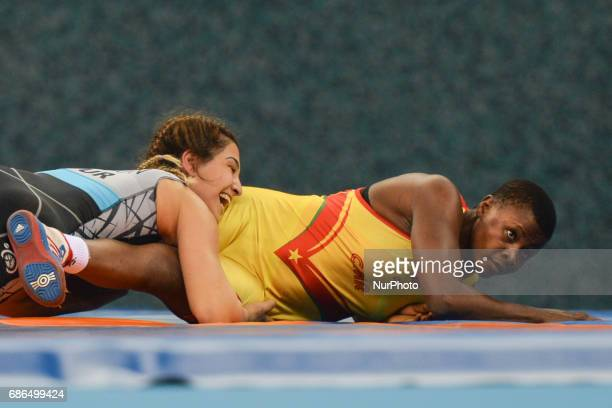 Blandine Metala Epanga of Cameroon competes against Buse Tosun of Turkey in the Women's Freestyle 69kg Wrestling for a Bronze during Baku 2017 4th...