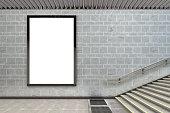 Blank vertical billboard poster underground. 3d illustration