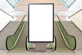 Blank advertising billboard stand in shopping mall or airport. 3d illustration