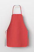 Blank red apron isolated on white background with clipping path. 3d illustration.