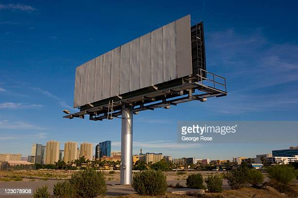 A blank billboard along Paradise Road leading to McCarran International Airport is seen on August 12 in Las Vegas Nevada With tourism slowly...