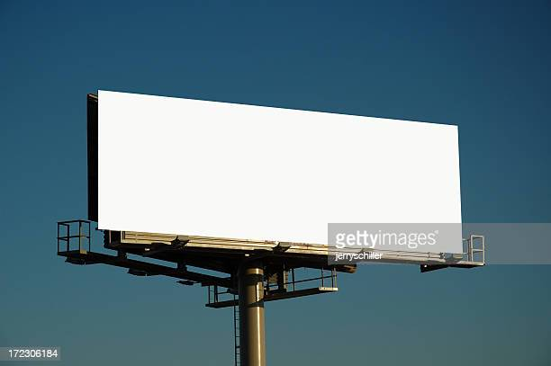 Blank billboard at sunset