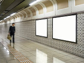 Blank Billboard Banner Media Light box Subway station with blurred Businessman