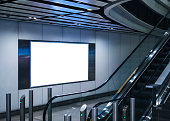Blank Banner Light box media indoor Modern building escalator