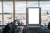 A blank billboard in a airport