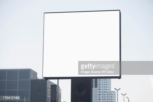 Blank billboard in city center