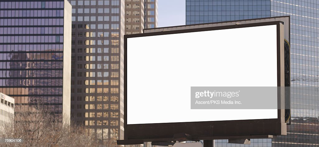 Blank billboard in downtown setting