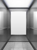 Blank billboard or poster inside of empty elevator cabin. 3D illustration.