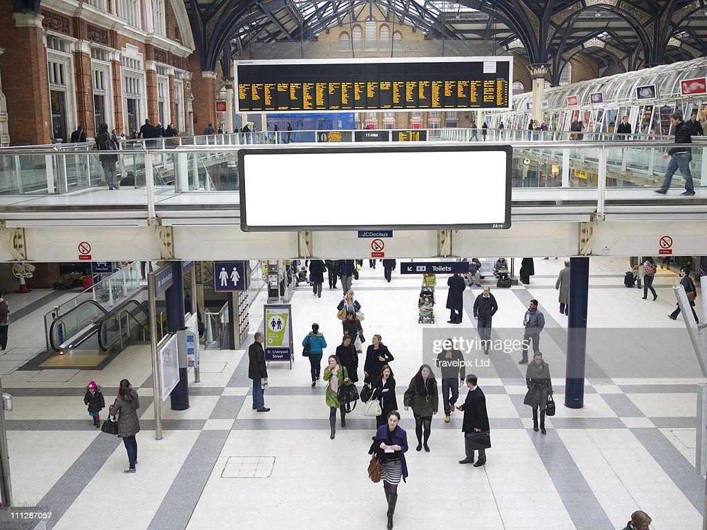 Blank Billboard, Liverpool st Station, London,  UK : Stock Photo