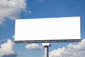 Blank billboard on blue sky for your advertising