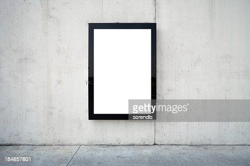 Blank billboard on wall.