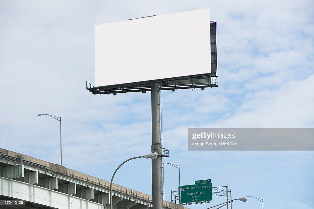 Blank billboard over freeway : Stock Photo