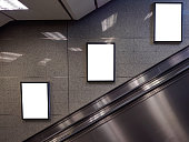 blank billboard located in subway for advertising mockup concept.