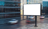 3d rendering of blank billboard on the street