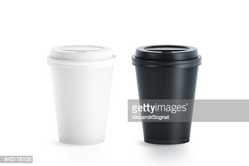 Blank black and white disposable paper cup with plastic lid : Stock Photo