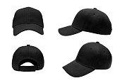 blank black baseball hat 4 view