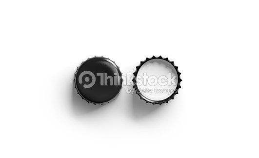 b8f6b7f74be Blank Black Beer Lid Mockup Top View Front And Back Side Stock Photo ...