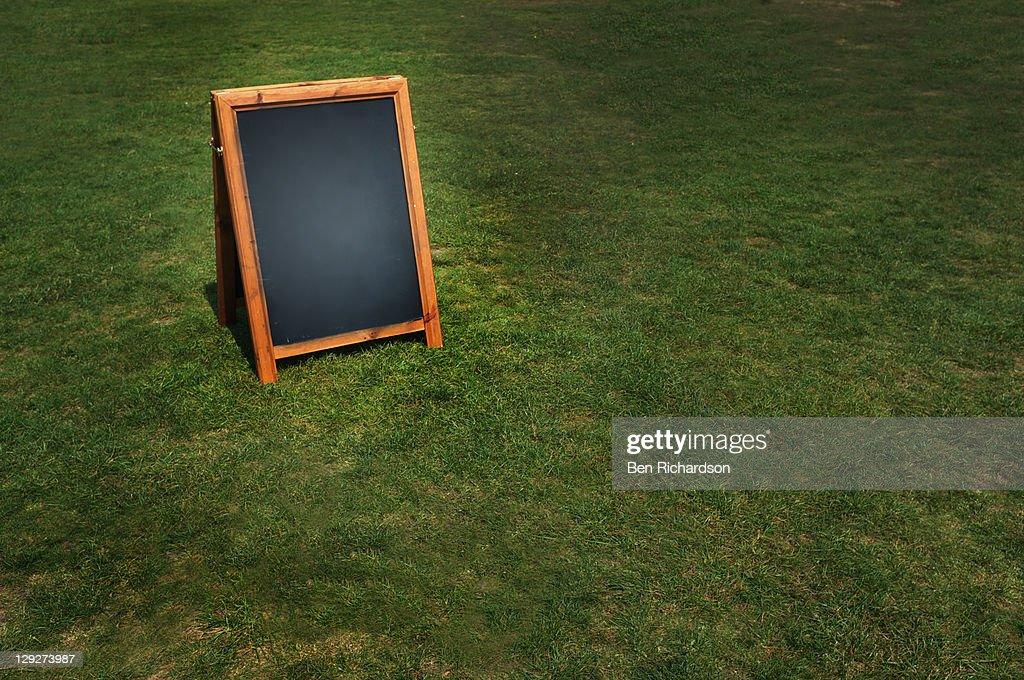 Blank black board : Stock Photo