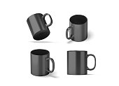 Blank black glass mug mock ups set isolated, 3d rendering. Clear grey 11 oz coffee cup mock up for sublimation printing. Empty gift dark pint set branding template. Glassy restaurant tankard design.