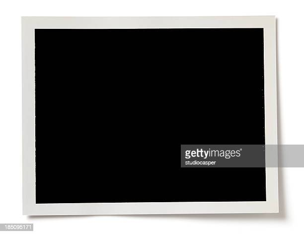 Blank black photo with a white border on white background